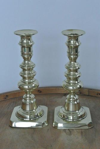 Pair of Quality Victorian Brass Candlesticks with Pushers c.1870 (1 of 7)