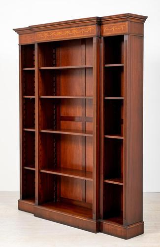 Mahogany Inlaid Open Breakfront Bookcase (1 of 5)
