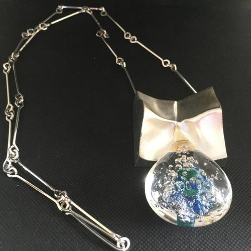Lapponia Sterling Silver & Acrylic Pendant / Necklace by Bjorn Weckstrom (1 of 4)