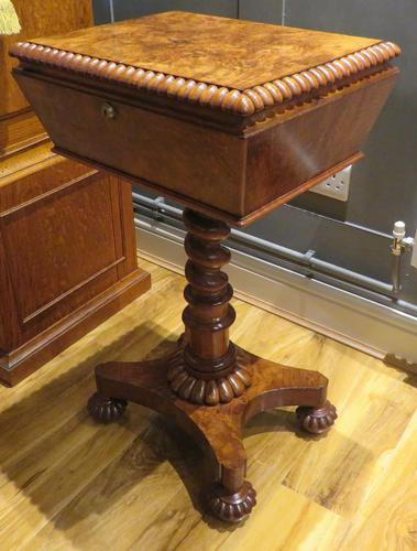 Exceptional Tea Poy Tea Caddy on Stand Burr Walnut (1 of 7)