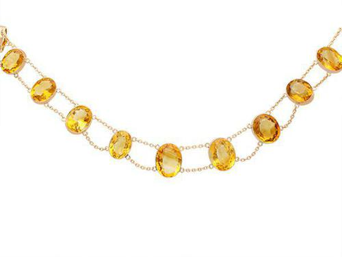 124.21ct Citrine & 9ct Rose Gold Riviere Necklace - Antique c.1890 (1 of 9)