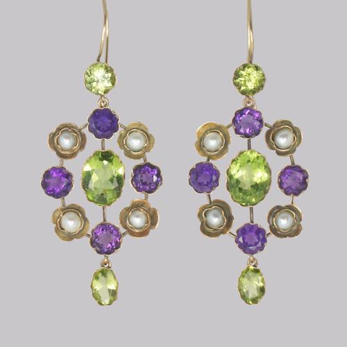 Suffragette Earrings Amethyst Peridot Pearl 15ct Gold Edwardian Dangle Earrings (1 of 7)