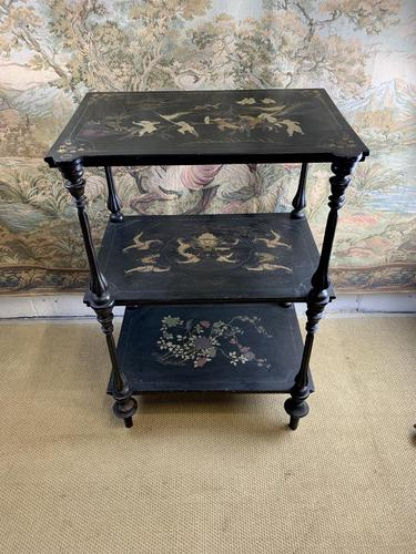 19th Century Three Tiered Lacquered Stand (1 of 6)