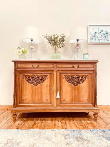 French Antique Sideboard / Walnut Buffet / Marble Cupboard (1 of 10)