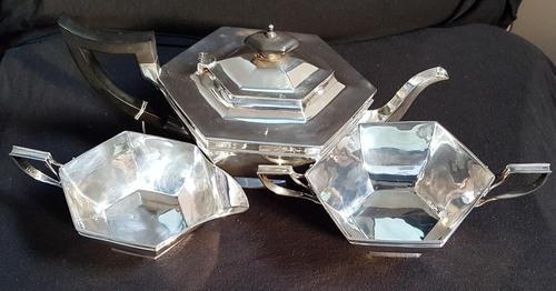 Art Deco Sterling Silver Hexagon Shaped Tea Service (1 of 7)
