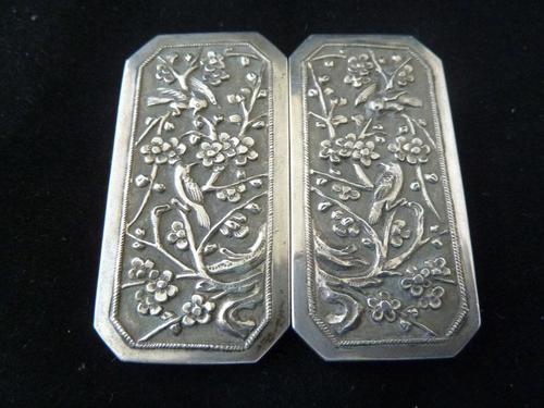 Chinese 19th Century Solid Silver Buckle #1 - Birds & Prunus (1 of 4)