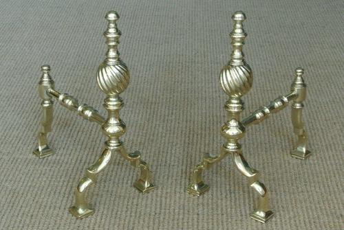 High Quality Pair of Victorian Brass Fire Dogs Fire Iron Rest Andirons c.1880 (1 of 6)