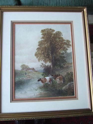 Arthur McArthur (fl:1880-1920) watercolour of cattle watering by a river (1 of 3)