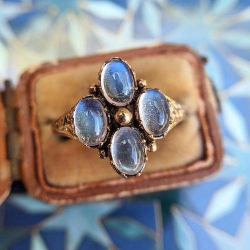 Vintage 9ct Yellow Gold Four Moonstone Cabochon Ring (1 of 9)