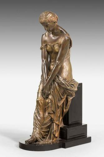 19th Century Seated Maiden on a Stepped Black Marble Base (1 of 6)