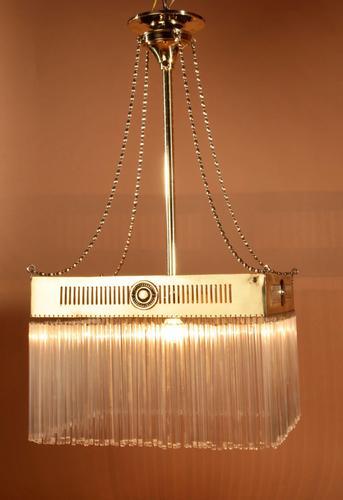 Very Decorative Amsterdam School Brass Centre Light Hanging Lamp (1 of 4)