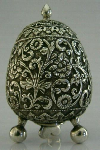 Stunning Indian Eastern Solid Silver Pepper Spice Pot Egg Shaped c.1880 (1 of 9)