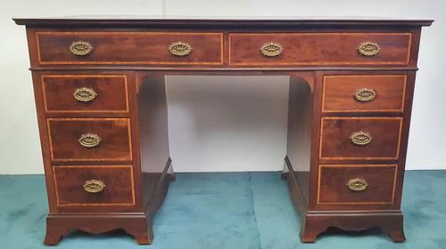 Edwardian Inlaid Mahogany Leather Top Desk (1 of 4)