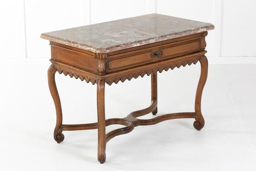Early 18th Century Belgian Oak Side Table with Marble Top (1 of 17)