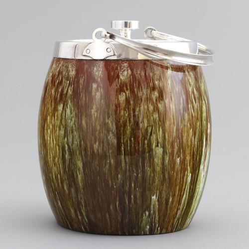 Linthorpe Pottery Aesthetic Movement Drip-Glazed Biscuit Barrel c1885 (1 of 9)