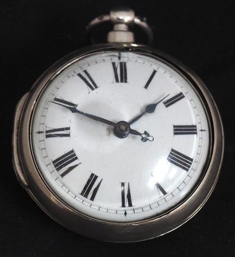 Superb Antique Silver Pair Case Pocket Watch Fusee Verge Escapement Key Wind Enamel Dial Johnson London (1 of 8)
