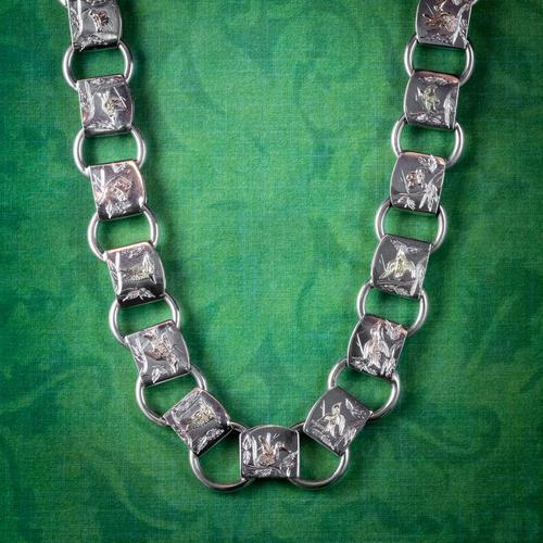 Victorian Sterling Silver Collar Necklace Gold Birds Circa 1880 (1 of 7)