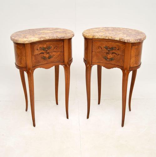 Pair of Antique French Marble Top Kidney Bedside Tables (1 of 12)