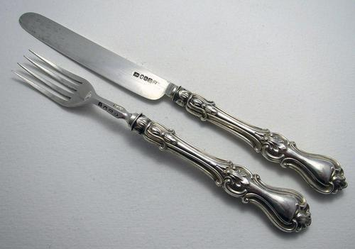 Antique 1849 Solid Sterling Silver English Victorian Christening / Childs Pair Knife & Fork Set. Albert Pattern (1 of 8)