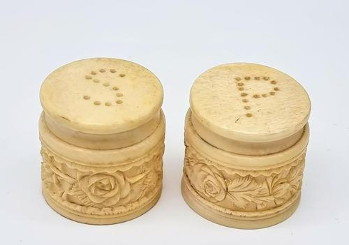 Set of Antique Chinese Bone Salt & Pepper Shakers with Carved Dragon (1 of 6)