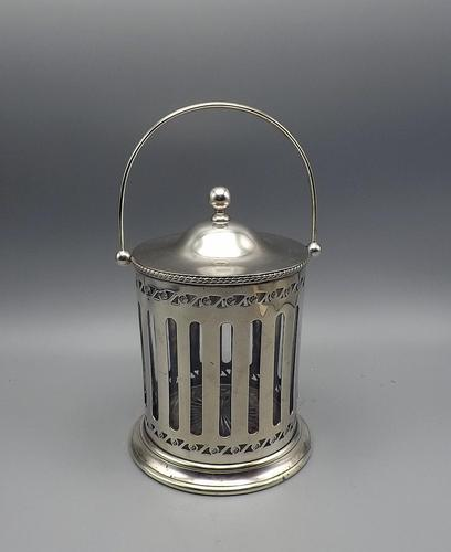 Antique English Silver Plate & Cut Glass Biscuit Barrel / Ice Bucket (1 of 6)