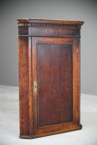Antique Rustic Oak Hanging Corner Cupboard (1 of 12)