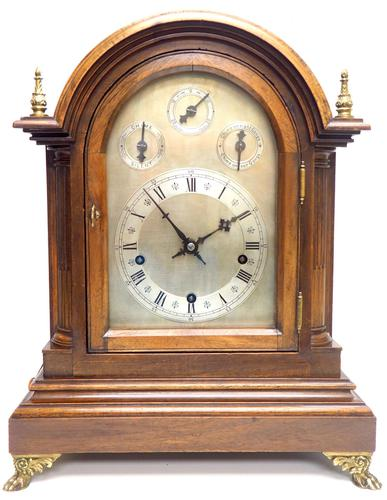 Mahogany & Bevelled Glass W&H Mantel Clock Dual Chiming Musical Bracket Clock Chiming on 9 Coiled Gongs (1 of 17)
