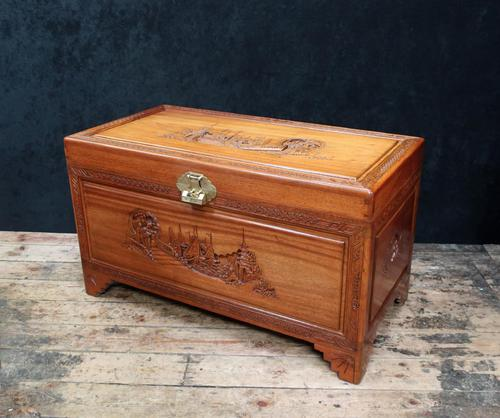 Early 20th Century Oriental Carved Teak and Camphor Wood Chest (1 of 12)