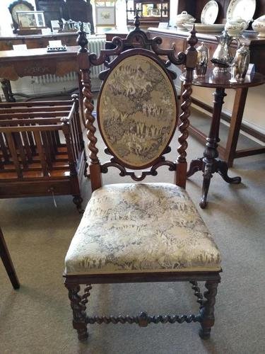 Victorian Carved Barley Twist Chair (1 of 7)