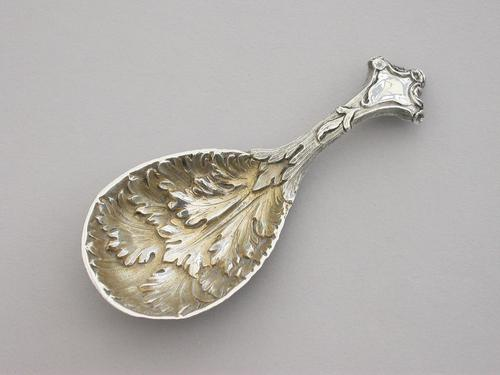 Victorian Cast Silver Caddy Spoon by George Adams, London, 1856 (1 of 10)