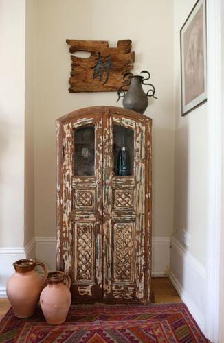 Unique Tall Two Door Teak & Painted Cabinet (1 of 16)