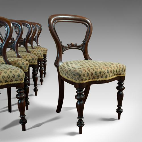 Antique Set of 6 Dining Chairs, English, Walnut, Balloon Back, Victorian c.1850 (1 of 12)
