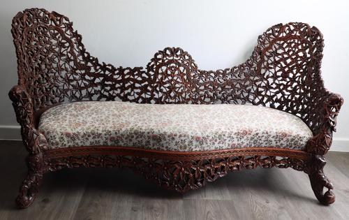 Burmese intricately carved settee in extremely good condition. (1 of 9)