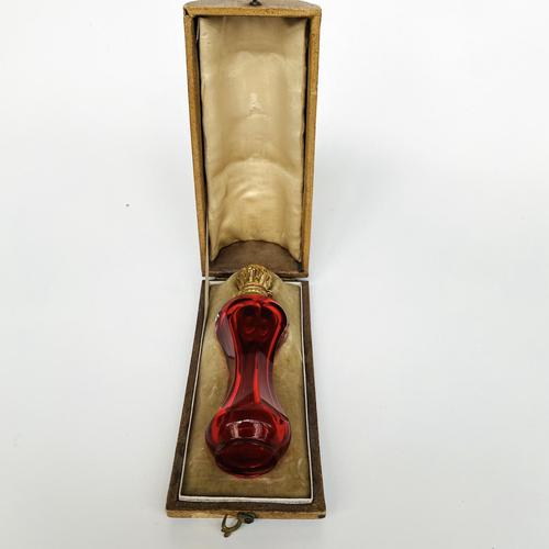 Silver gilt and cranberry scent bottle (1 of 5)