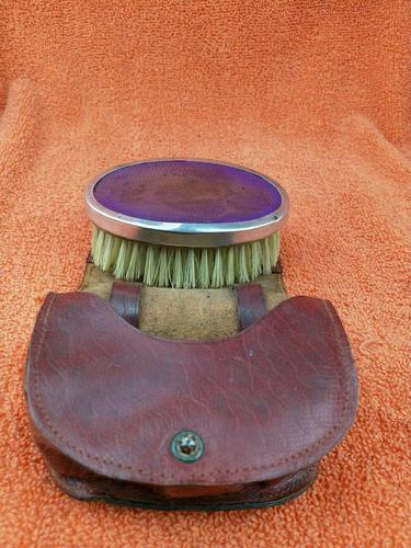 Antique Sterling Silver Hallmarked Purple Brush in Leather Case , 1928 , Birmingham, Daniel Manufacturing Company (1 of 6)