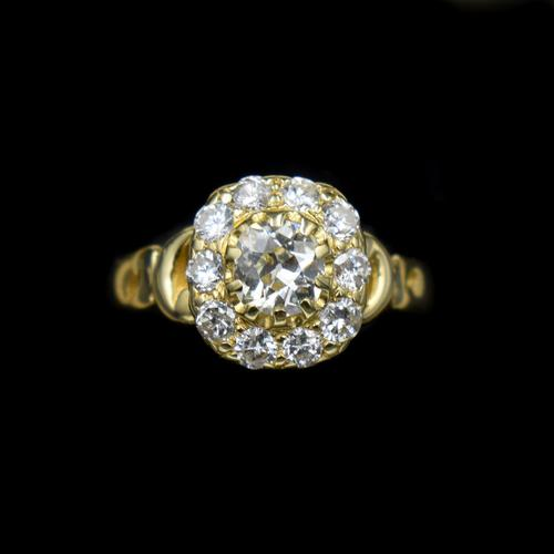 Antique Victorian Old Cut Diamond Cluster 18ct 18K Yellow Gold Ring 1.0ct total (1 of 9)