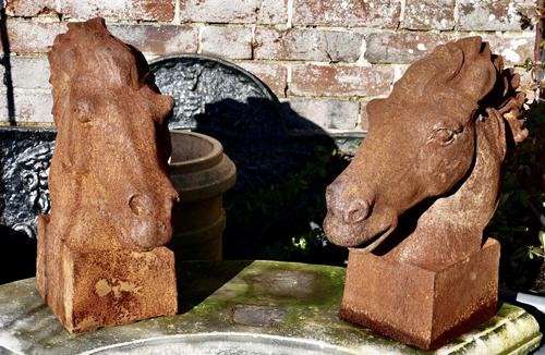 Pair of Large Outdoor Weathered Cast Iron Horse Heads (1 of 7)