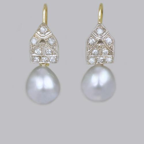 Art Deco Pearl & Diamond Drop Earrings 18ct Gold & Plat Antique 1920's Earrings (1 of 9)