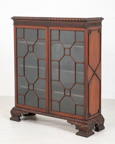 Mahogany Chippendale style 2 door display cabinet (1 of 11)