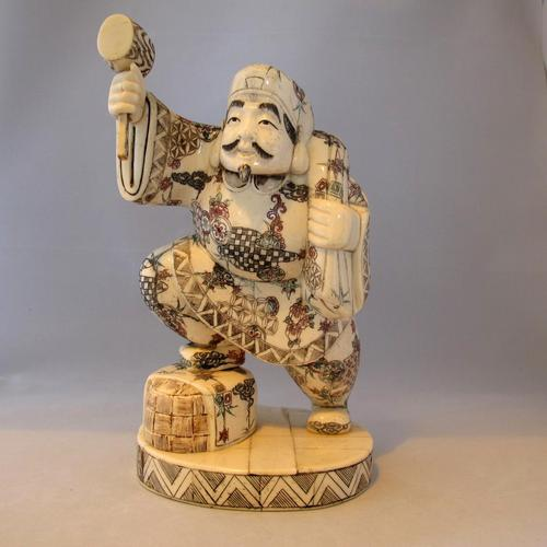 Rare Japanese Bone Okimono of The God 'Daikoku' (1 of 5)