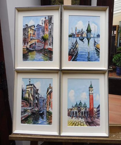 Set of 4 Watercolours Venice by Sirrol listed artist Aka Antonio Sirolli 1950s (1 of 10)