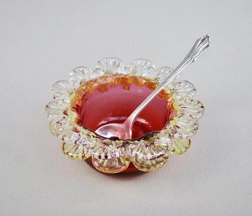 Victorian Cranberry & Uranium Glass Salt with Victorian Silver Salt Spoon, Chester 1896 (1 of 5)