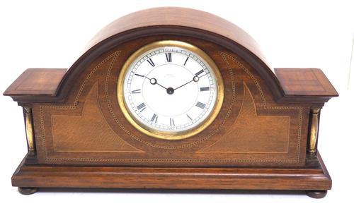 Fine Edwardian Mahogany Arched Clock Multi Wood Inlay Timepiece Mantel Clock (1 of 9)