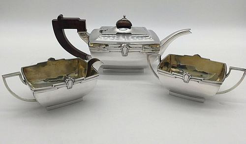 Superb Indian Art Deco Sterling Silver Tea Set Bartons Bangalore Heavy Gauge (1 of 8)