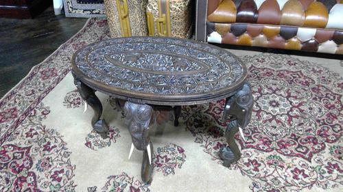 Antique Indian Carved Teak Elephant Table (1 of 6)