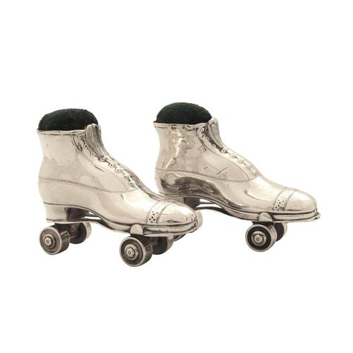 Pair of Antique Edwardian Sterling Silver Roller Skate Pin Cushions  1910 (1 of 11)
