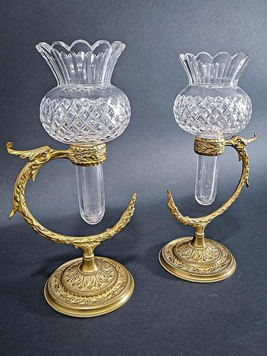 Pair of Gilt Brass Posy Vases (1 of 5)