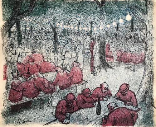 Original lithograph  'Beer Festival' by Richard Walker 1925-2009. Studio stamped. Framed (1 of 1)