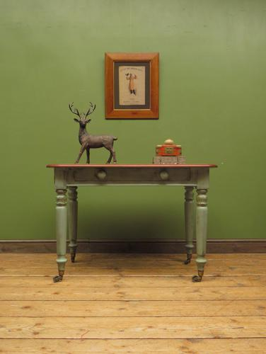 Antique Writing Table with Painted Duck Egg Base & Drawer (1 of 16)
