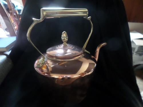 Large Copper & Brass Handled & Finial Kettle 1930's (1 of 3)